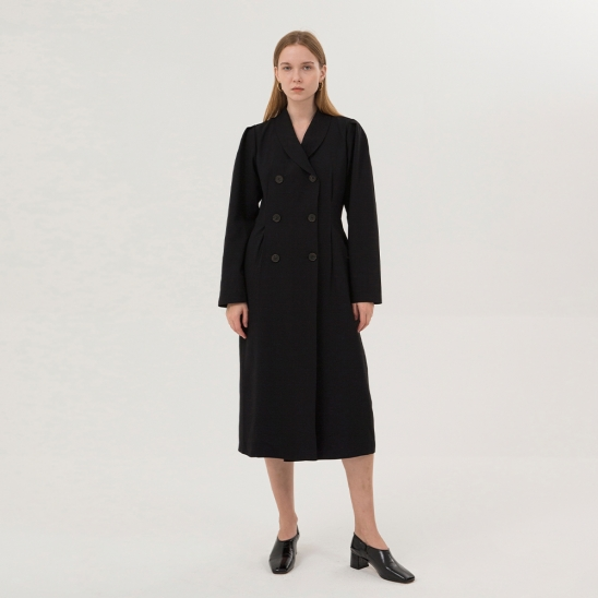 Double-Breasted Jacket Dress - Black
