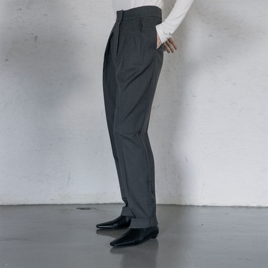 Wool flannel cabra pants (charcoal)