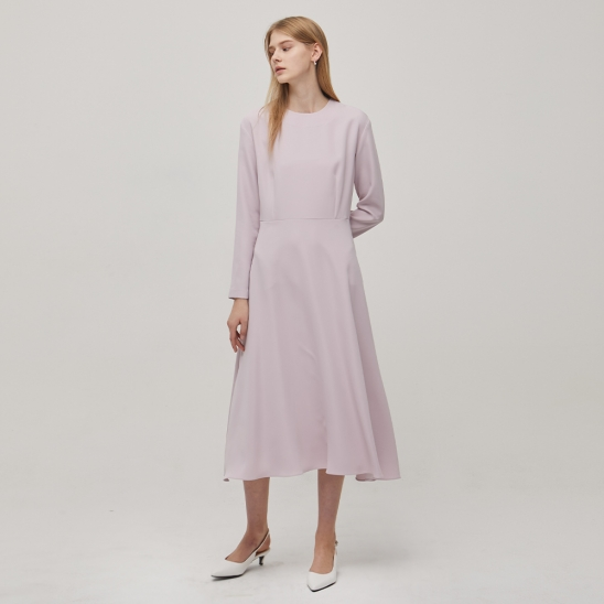 Long Sleeve Flare Dress - Pink