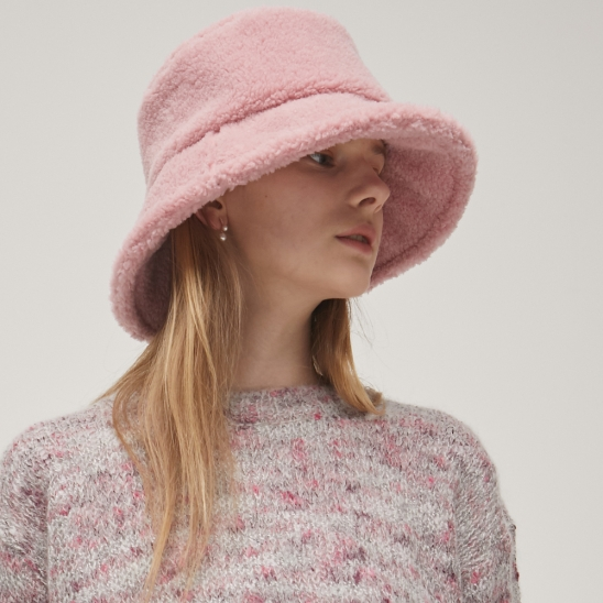 Shearling Bucket Hat - Pink