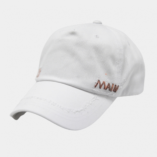 premium cotton logo side offwhite cap