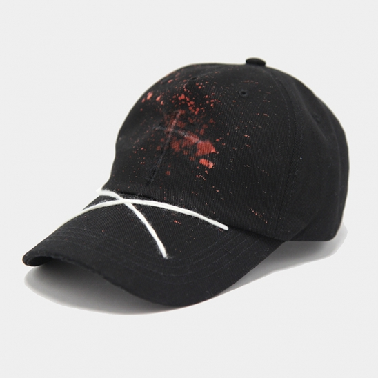 premium cotton main cross washing black cap