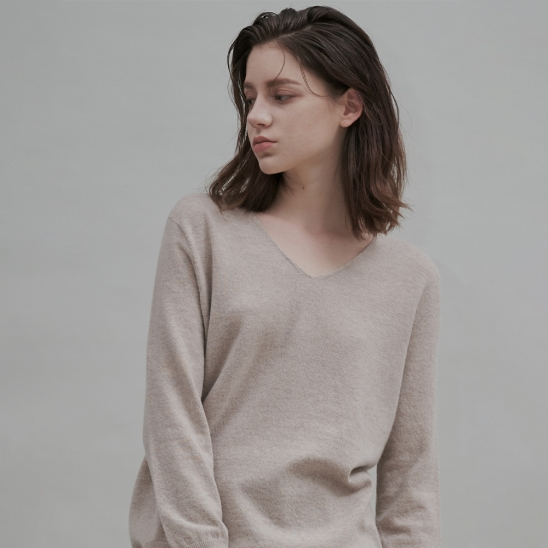 Cashmere Blend Wholegarments V-neck Pullover