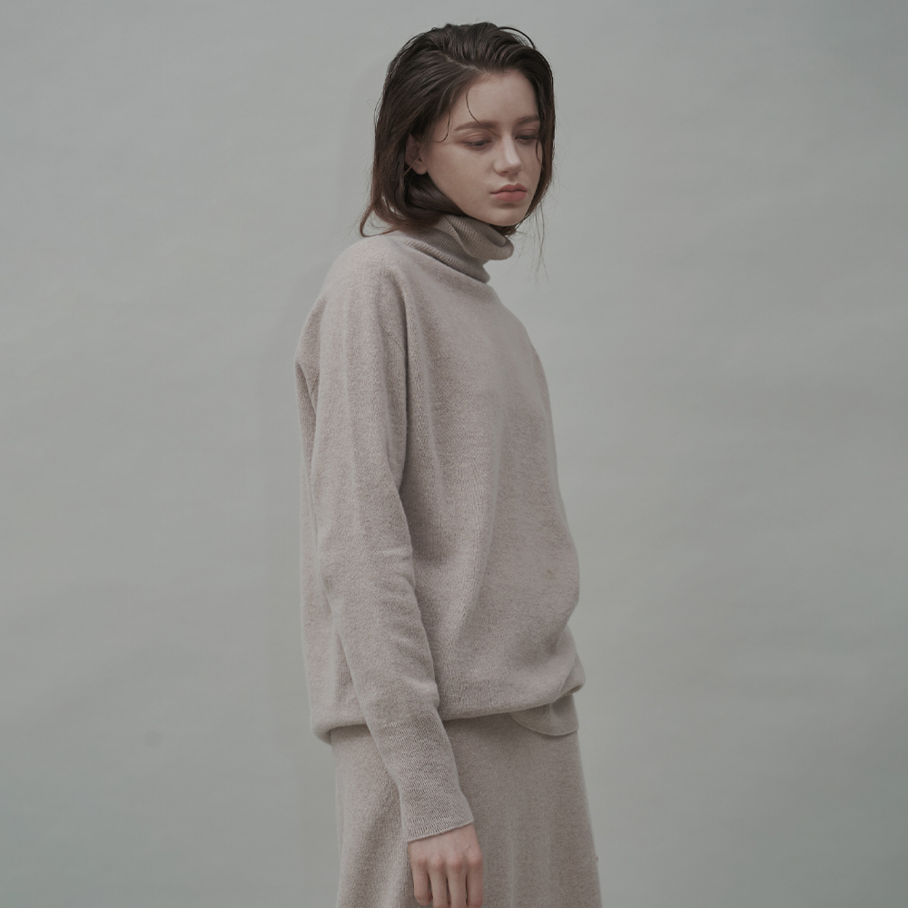Cashmere Blend Wholegarments Turtle-neck Pullover