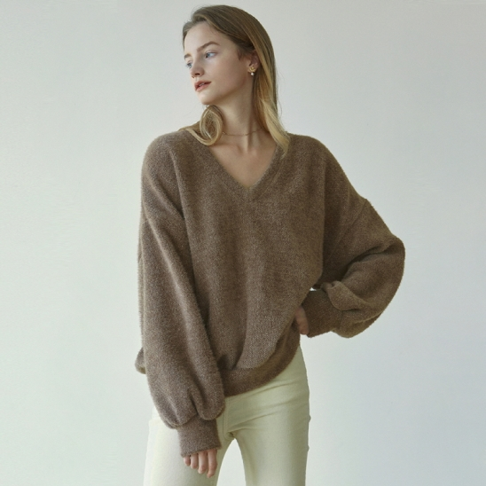 HEAVY BOUCLE V KNIT_BROWN