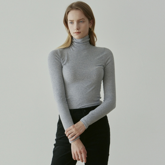 SOFT SLIM TURTLENECK TEE_GRAY