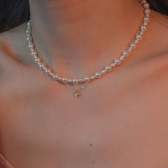 Little star and pearl layered necklace