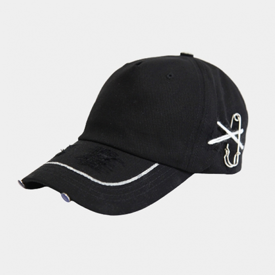 premium cotton side pin black cap