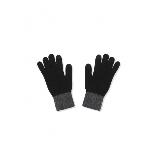 TWO TONE WOOL GLOVES [BLACK GREY]