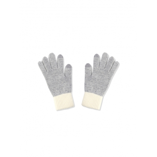 TWO TONE WOOL GLOVES [GREY WHITE]