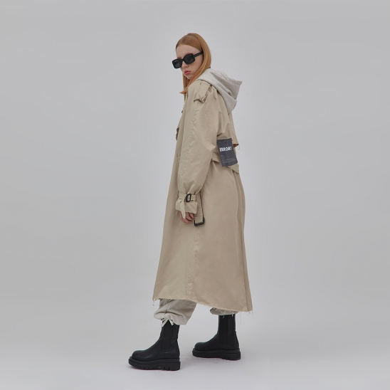 G.I cut-out trench coat BEIGE