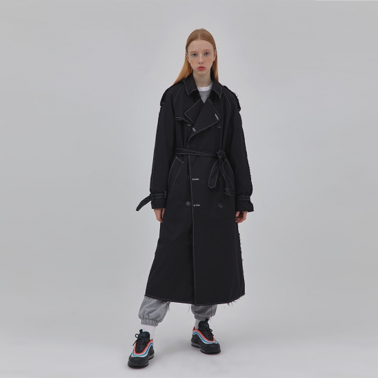 G.I cut-out trench coat BLACK