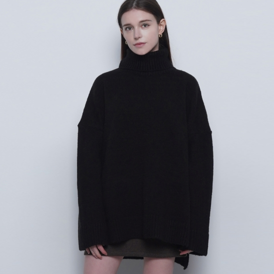 W47 mong heavy over pola knit black