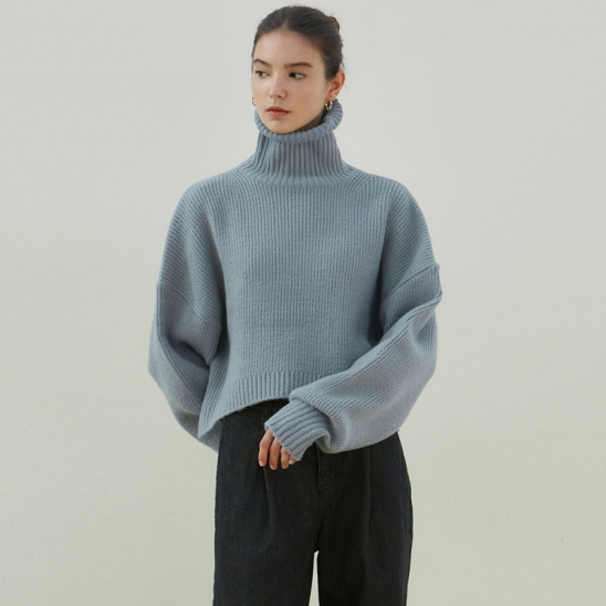CROP TURTLENECK SWEATER_BLUE GRAY