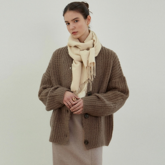 ANTIQUE SWEATER CARDIGAN_MOCHA