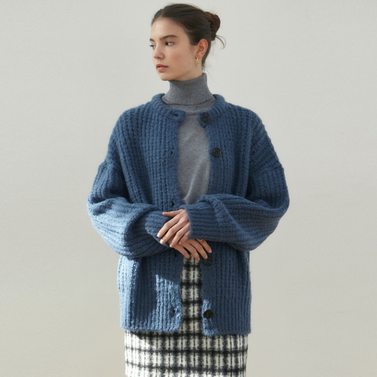 ANTIQUE SWEATER CARDIGAN_DEEP BLUE