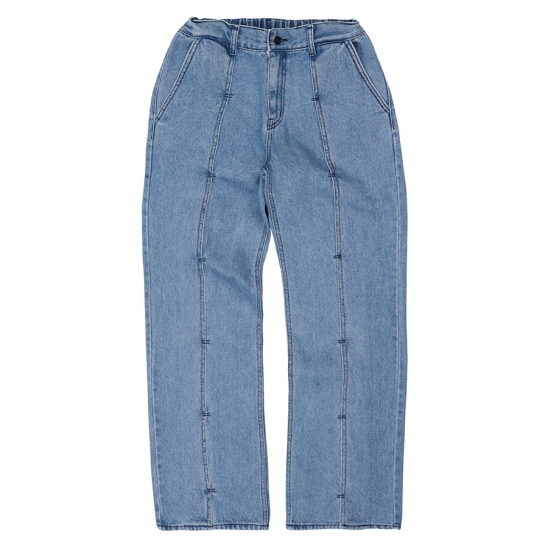 LAYERED PIN TUCK JEANS-BLUE