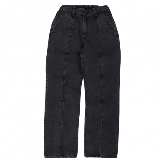 LAYERED PIN TUCK JEANS-BLACK