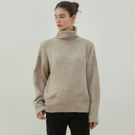 HIGH TURTLENECK SWEATER_OATMEAL