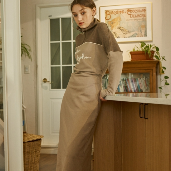 [살롱드욘] High Neck Cozy Dress_ Beige