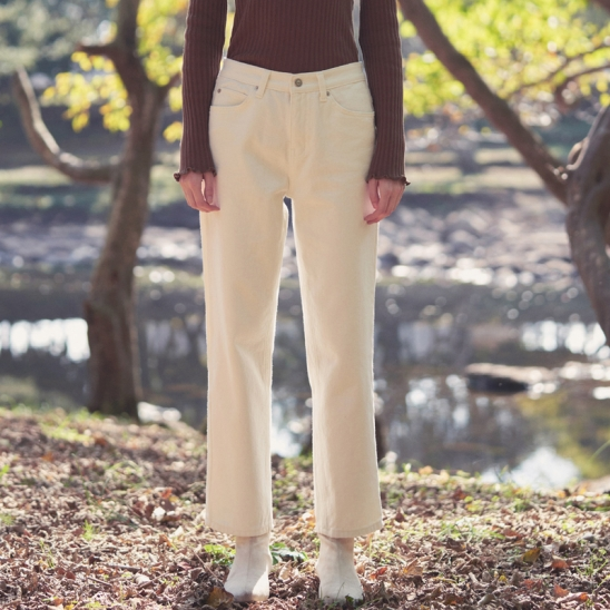 basic napping cotton pants - white