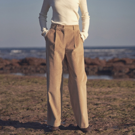 corduroy wide pants - beige