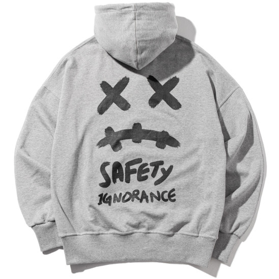SMILE OVERSIZED HEAVY HOODY MWZHD001-GY