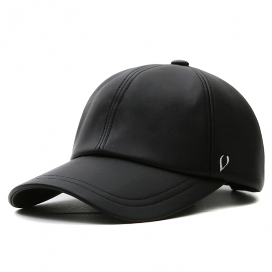 BLACK LINE - SOFT LEATHER BALL CAP (black)