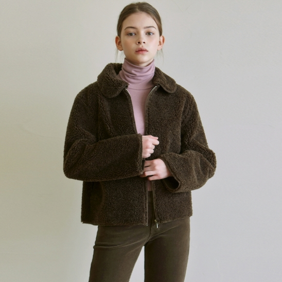 FLEECE STAND COLLAR JACKET_BROWN