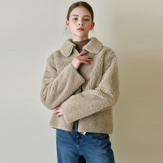 FLEECE STAND COLLAR JACKET_BEIGE