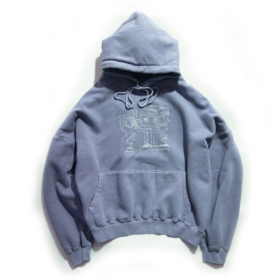 [EZwithPIECE] PIG DYED TRASHMAN HOODIE (NAVY)