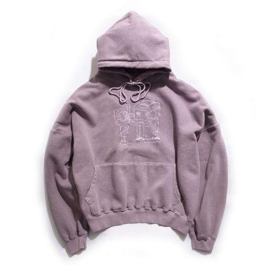 [EZwithPIECE] PIG DYED TRASHMAN HOODIE (PURPLE)