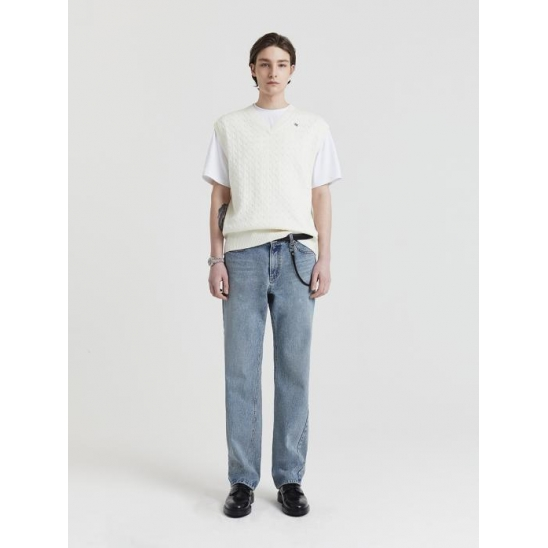 CURVED LINE STRAIGHT JEANS LIGHT BLUE