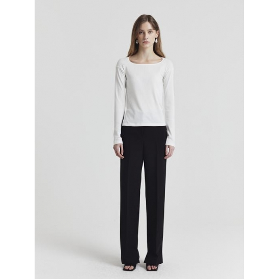 ASYMMETRY STRAIGHT TROUSERS BLACK