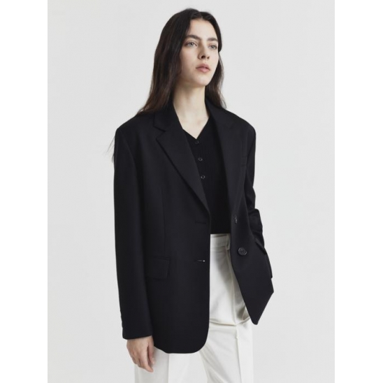 ESSENTIAL 2 BUTTON WOOL BLAZER BLACK