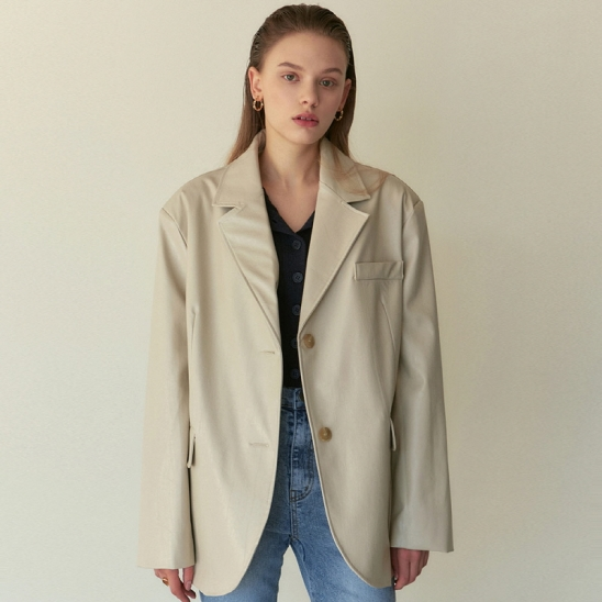 UNICK FAKE LEATHER JACKET_SAND BEIGE