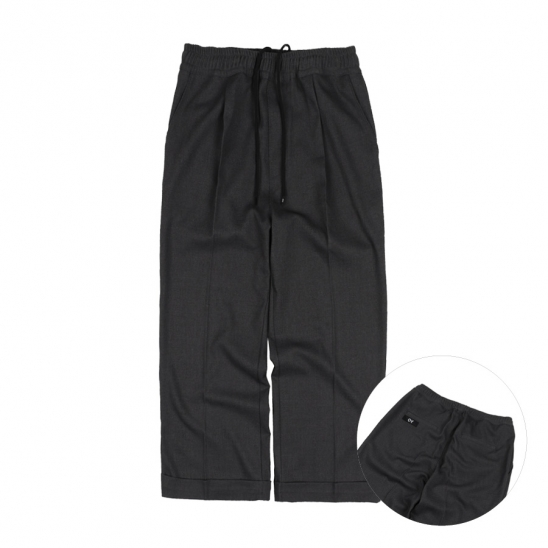 PIN TUCK CROP WIDE SLACKS-CHARCOAL GREY
