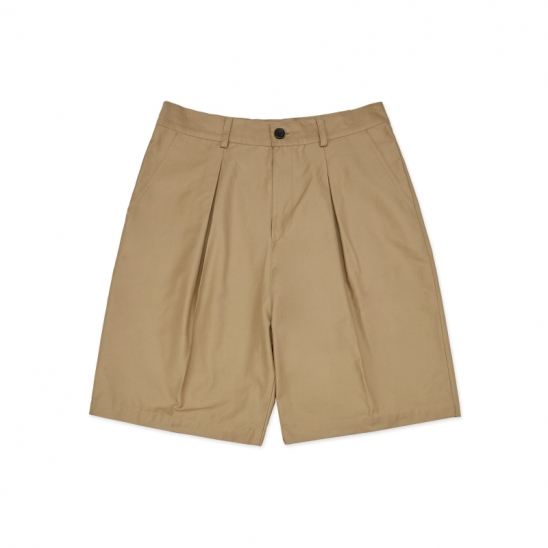 SP079_Wide Two-Tuck Shorts_Beige