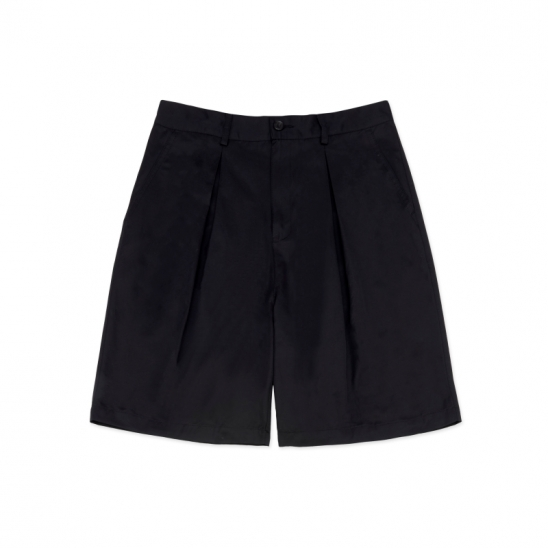 SP081_Wide Two-Tuck Shorts_Black