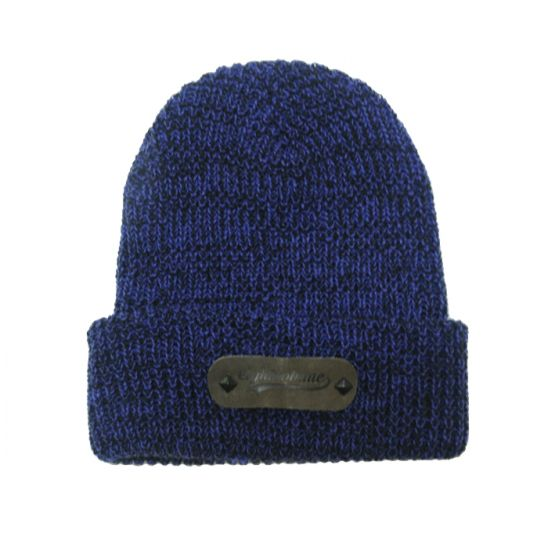[에잇볼륨] EV Boca Leather Beanie (Navy)