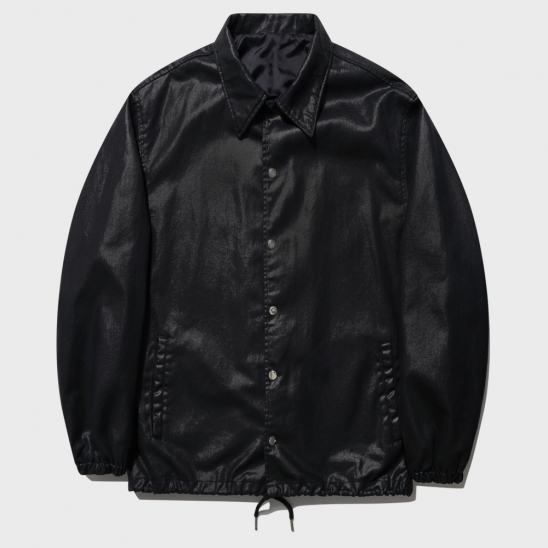 WAX COATED BANDING COACH JACKET_BLACK