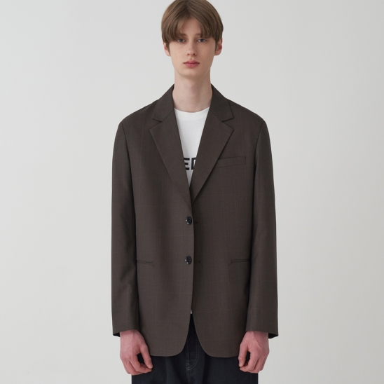 CHECK SINGLE BREASTED JACKET_BROWN