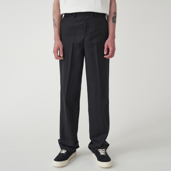 WOOL MIXED WIDE SLACKS_BLACK