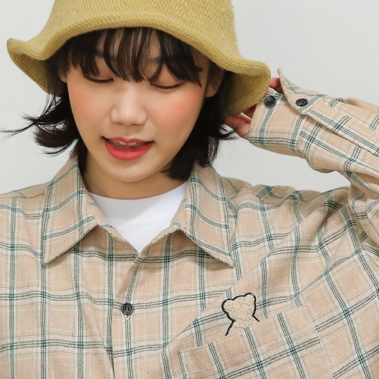 AQO BEAR CHECK SHIRTS BEIGE