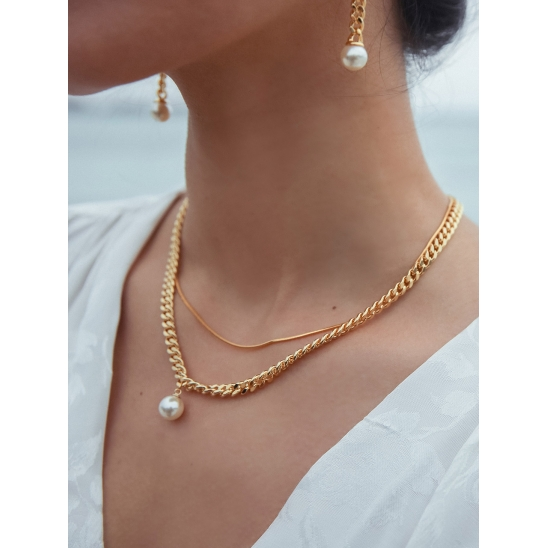 2CHAIN PEARL PENDANT NECKLACE GOLD