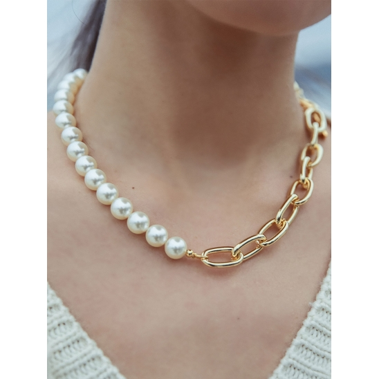 PEARL BOLD CHAIN MIX NECKLACE GOLD