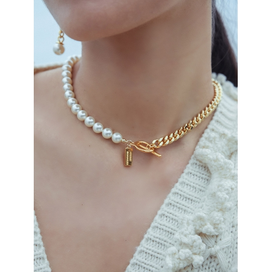 PEARL HALF CHAIN NECKLACE GOLD