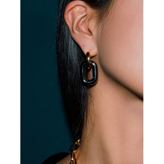 BLACK SQUARE CHAIN EARRING GOLD