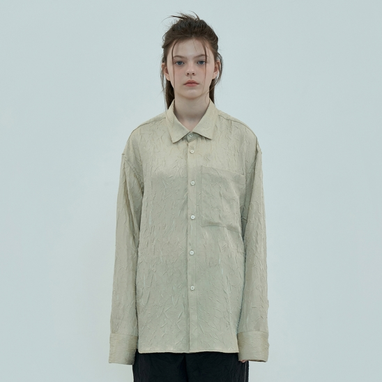 POCKET WRINKLE SHIRT / LIGHT BEIGE