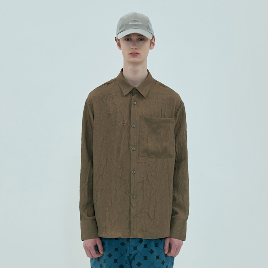 POCKET WRINKLE SHIRT / BROWN